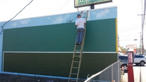 Green Monster mural - in progress